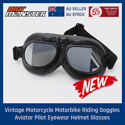 Black Motorcycle Harley Goggles For Open Face Helmets Aviator Flying Style Bike