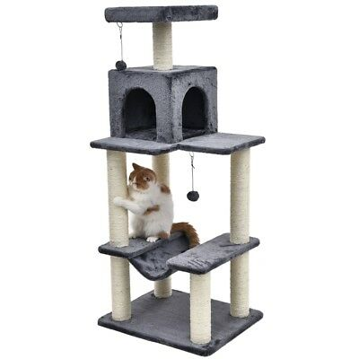 114CM Cat Scratching Post Tree Furniture Kitten Pole Gym Activity Toy House Grey