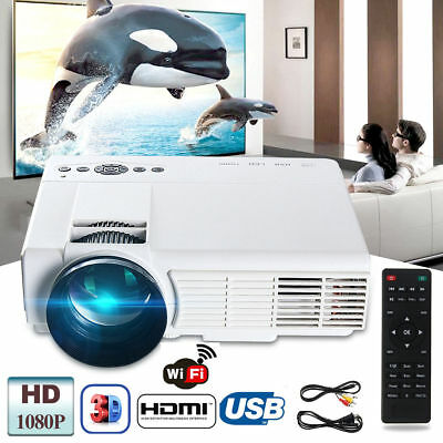 Wifi 1080P HD 3D LED Projector Home Multimedia Cinema Theater USB AV TV VGA HDMI