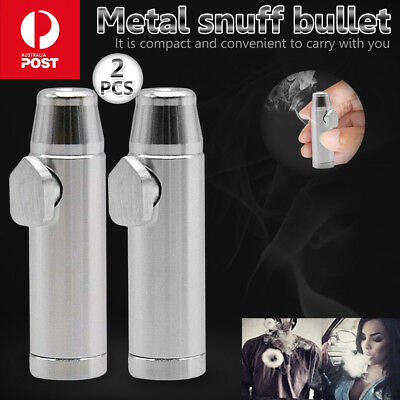 Removable Mini Snuff Sniffing Tool Metal Bullet Rocket Snorter Snuffer Tube Vial