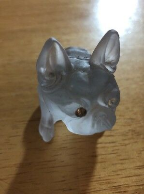 French Bulldog figure-Green-  Westmoreland  Glass Rhinestone Eyes-Dog
