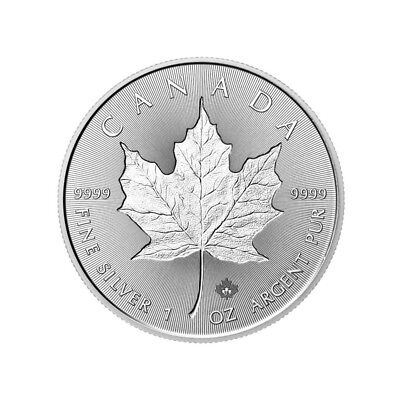 Canada 5 Dollars, 2018, Maple Leaf Double Incuse, 1 Oz Ag. 9999 Silver Coin, UNC