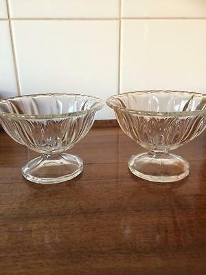 2 X Vintage Art Deco Heavy Footed Pressed Depression Glass Comport Bowls