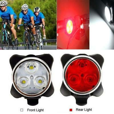 Bicycle Cycling Bike Head Front Rear Tail 3 LED light USB Rechargeable 4 mode GA