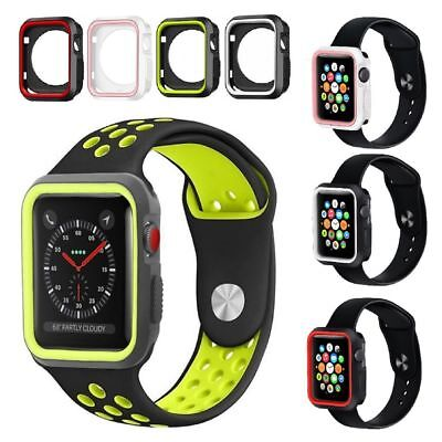 Silicone Bumper Frame Glass Cover Case for 38/42mm Apple Watch 3/2/1 iWatch