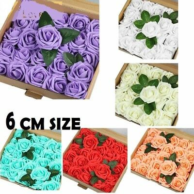 Large Rose Head Foam Flower 6 cm Roses Wedding Craft Party Decor 6 Color NEW