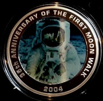 2004 35th Ann. of the First Moon Walk 1oz Silver Hologram Proof. Cert No CAK007
