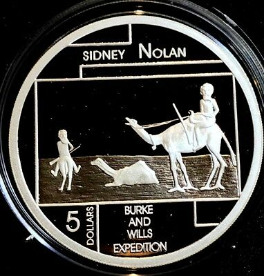 2006 Australia Burke Wills Expedition by Nolan 1oz Silver (99.9%) Proof $5 coin