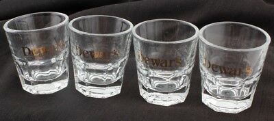 Dewar's Blended Scotch Whisky Heavy Octogon Bottom Glasses 5 oz Lot of 4