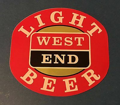 'New' 1980's West End Light Beer Point of sale sticker Adelaide SA 8 X 7.5 cm