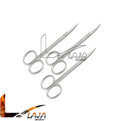 "3 Iris Scissors Surgical Dental Veterinary Instrument 4.5"" Curved O.R. Grade New"