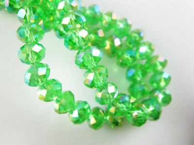 Diy Jewelry Faceted 70pcs 6*8mm Rondelle glass Crystal Beads Green AB