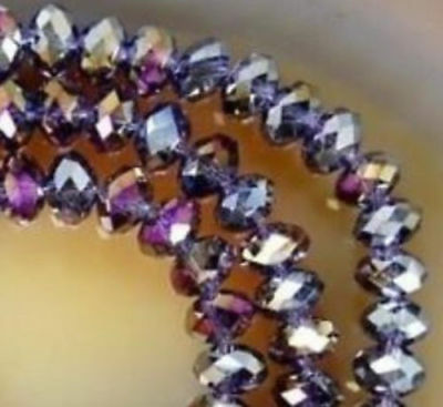 Diy Jewelry Faceted 70pcs 6*8mm Rondelle glass Crystal Beads Purple  AB