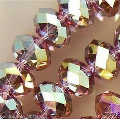 Diy Jewelry Faceted 70pcs 6*8mm Rondelle glass Crystal Beads Purple Red AB