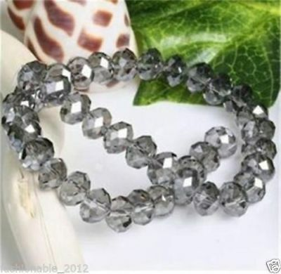 Diy Jewelry Faceted 70pcs 6*8mm Rondelle glass Crystal Beads Grey