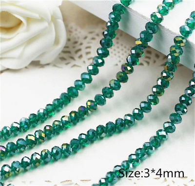 Diy Jewelry Faceted 70pcs 6*8mm Rondelle glass Crystal Beads Peacock green AB