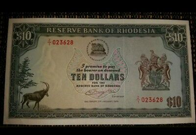 1978 Rhodesia $10 replacement Z/1 note. P41 Crisp Immaculate aUnc