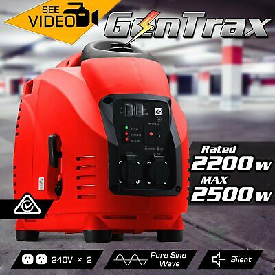 Gentrax Portable Inverter Generator 2.5KW Max 2.2KW Pure Sine Camping Petrol Red