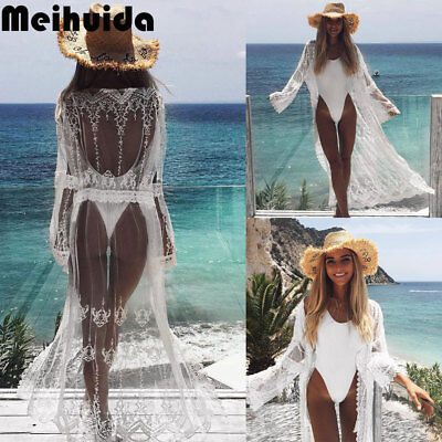 54d9a4f2e Women Chiffon Kimono Beach Cardigan Bikini Cover Up Wrap Beachwear Long  dress US