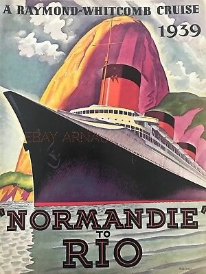 French line Paquebot Normandie to Rio 1939 cruise Brochure - Rare !