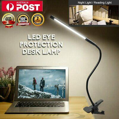 LED Desk Table Lamp USB Dimmable Eye Care Reading Light Flex Clamp Clip On Clamp
