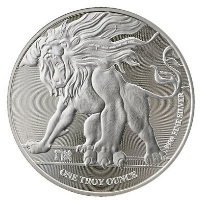 New Zealand 2 Dollars, 2018 ,Niue Roaring Lion, 1oz SILVER Coin, in capsule, UNC