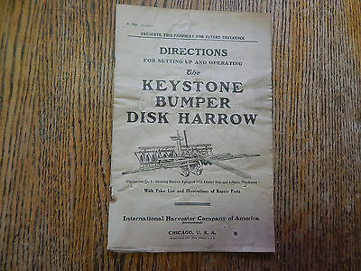 Directions for Keystone Bumper Disk Harrow, Inter. Harvester Co.,ILLUS, VINTAGE