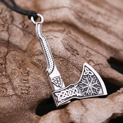 Viking Axe Valknut Celtic Knot Helm of Awe Aegishjalmur Pendant Amulet Necklace