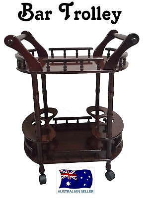 Wooden Drinks Trolley Bar Cart Lacquer Finish Wine Whiskey Beer Storage HW337