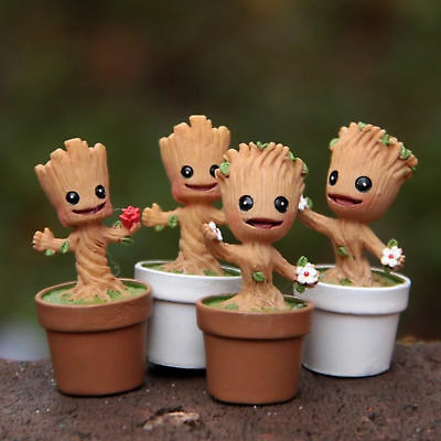 Marvel Groot Dancing Potted Trees Landscape Bobble Head Figure Kid Toy