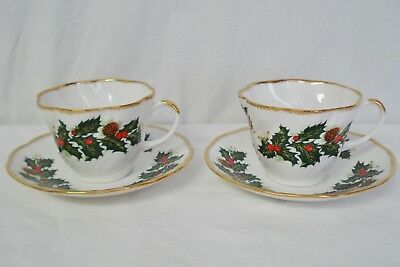 2 Rosina Queens Yuletide Flat Cup & Saucer Sets Tea Cup Saucer Cotswold