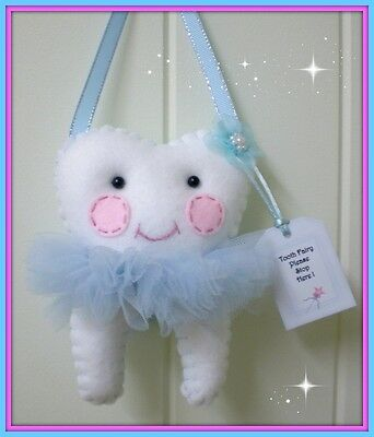 Tooth Fairy - Pretty Blue ribbon **Lost Tooth Goes In Back Pocket** Handmade
