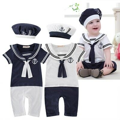 Kids Baby Boys Girls Sailor Costume Suit Outfit Dress Romper + HAT Clothes 3-18M