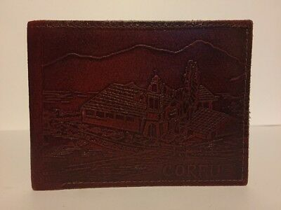 Vintage Tooled Leather Corfu Souvenir Leather Gents Bifold Wallet Red/Brown