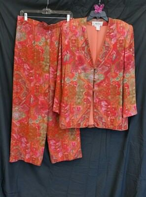 VTG Carlisle 2 Pc Jacket Pants Set Evening 100% Silk Orange Red Green SZ12 HAAF
