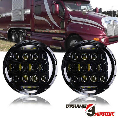 2pcs 7inch LED Projector Headlight Hi/Lo For Pre 2005 Model Freightliner Century
