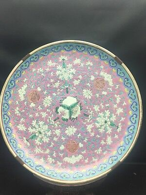 Big Antique Chinese Families Rose Plate 18/19th Century