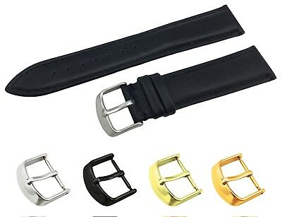 Black Genuine Leather Flat Strap Band fit OMEGA Watch Buckle 18 19 20 21 22mm
