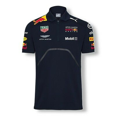 2018 OFFICIAL F1 Aston Martin RED BULL Racing MENS Team Polo shirt Blue – NEW