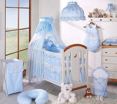 LUXURY BABY BLUE CANOPY / DRAPE FIT COT/COT BED + HOLDER / at my Baby Bootik