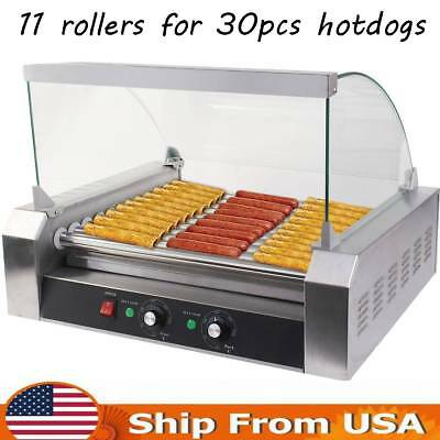 Commercial 11-Roller Stainless Steel Roller Grill Cooker Hotdog Machine Silver
