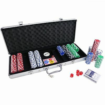 New Poker Chip Set In Aluminium Case With Dice,Chips, Cards 100,200,300,500 Chip