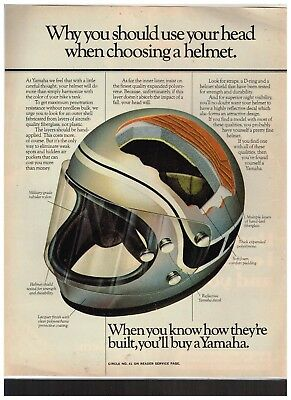 Old Vintage Magazine Ad For Yamaha Helmets - Wow Look
