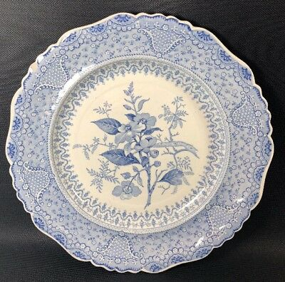 "Blue Transferware 10 1/2"" Plate ""Asiatic Plants"" Charger 10S"