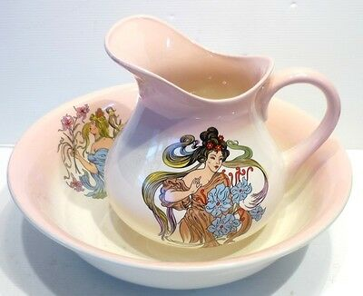 Beautiful SUPPORT TOILETRY Pitcher + Bowl Decor Women New Art ORCHIES