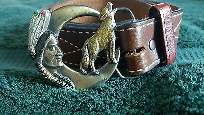 Vintage Pewter 1992 Indian & Howling Wolf in Crescent Moon Buckle & Belt 3003