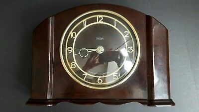 Vintage Smiths 30 Hour Mantle Clock Bakelite With Metal Back 20x14x5cm Working