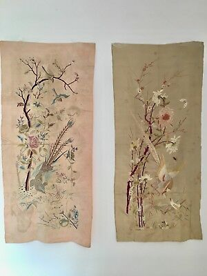 Chinese Antique Embroidered Silk Panels Pair - Birds & Flowers QING Fine