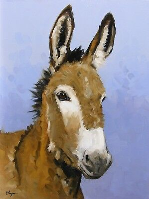 Original Oil painting portrait of a donkey hand painted art by UK artist j payne