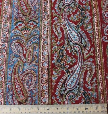 3 French Antique Turkey Red & Blue Hand Blocked Paisley Stripe Fabrics c1860